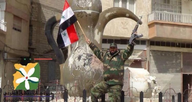 Syrian flag hoisted over Yabroud , Maintenance workshops begin work